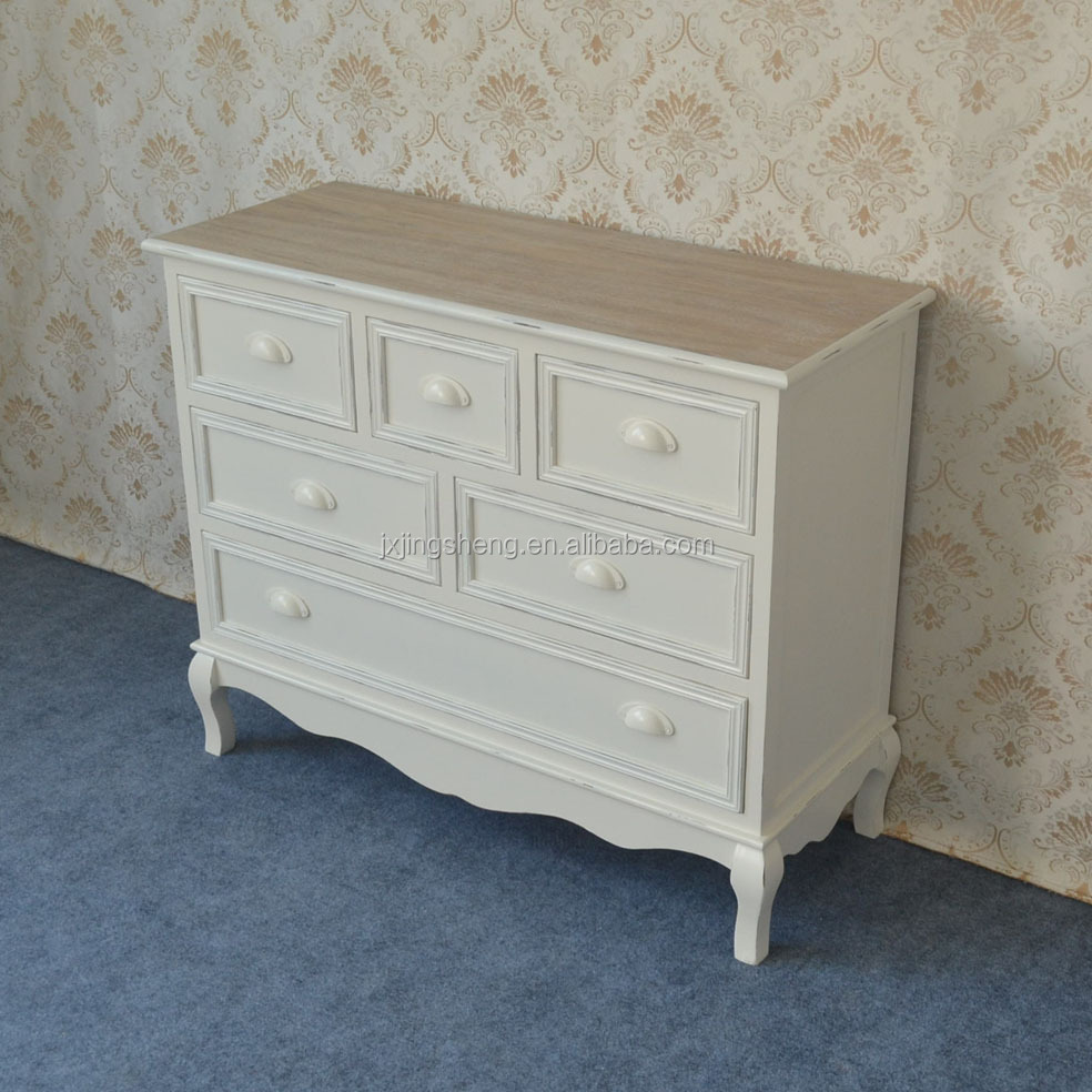 French country shabby matt finish cheap wood large 6 drawer cabinet