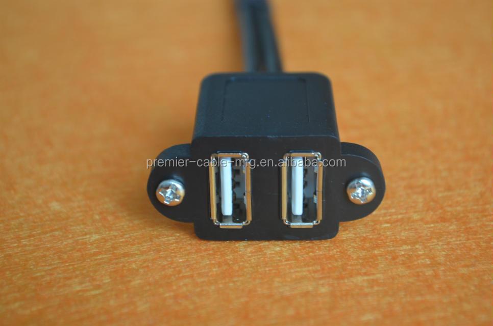 USB 2.0 A Male plug to 2 dual USB A Female jack Y splitter Hub adapter Cable