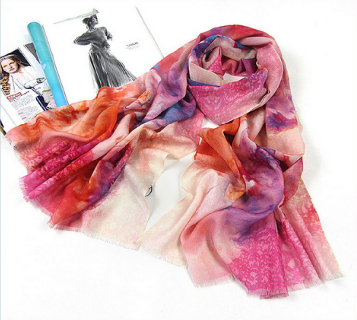 no MOQ custom digital printing chiffon 100%silk georgette scarf