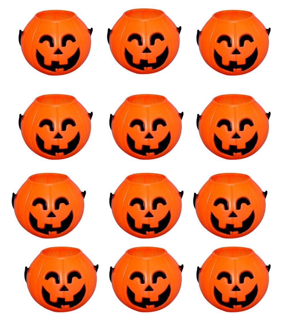 Wiwaplex 12pcs Plastic Pumpkin Candy Holder Mini Trick-or-treat Halloween Candy Bucket