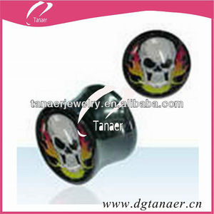 2012 new design cool piercing ear expander with white mask logo