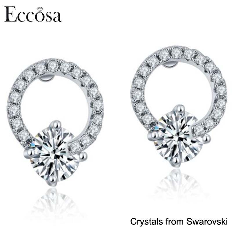 Eccosa Earrings Women Latest Round Fashionable Design Antique Feminine Crystal Earrings