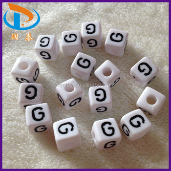 Wholesale New Fashion 7*7MM Cube White Back + Black Letter G ...