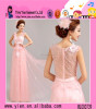 Latest Long Chiffon Sleeveless Pink Transparent Evening Dress Deep-V neckline Backless Transparent Evening Dress