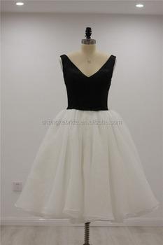 Vestido blanco y negro de coctel