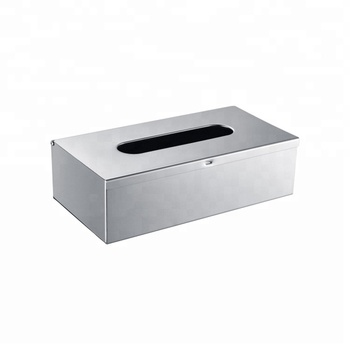 Custom printed rectangle container mirror finish stainless steel metal tissue paper box
