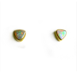 2017 gold plated triangle tiny stud opal earring