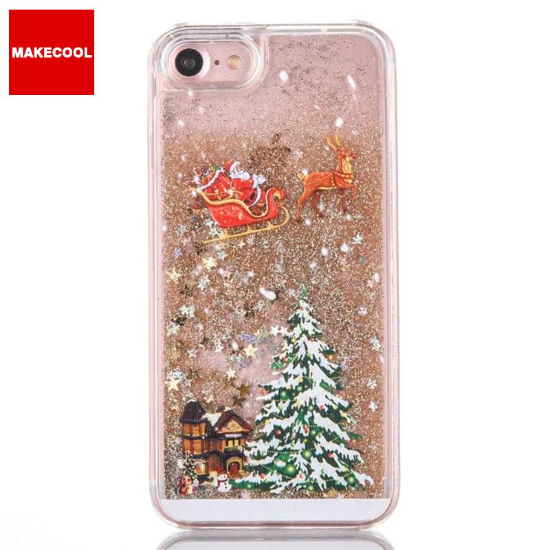 b399fe1f057 Árbol de Navidad líquido brillante arena caja del teléfono de la pc para el  iPhone 6