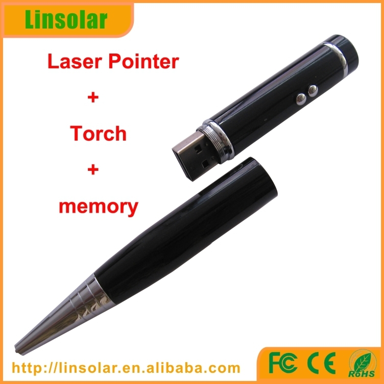 CE ROHS FDA Class II laserpointer with led flashlight torch, ball pen, USB dirver