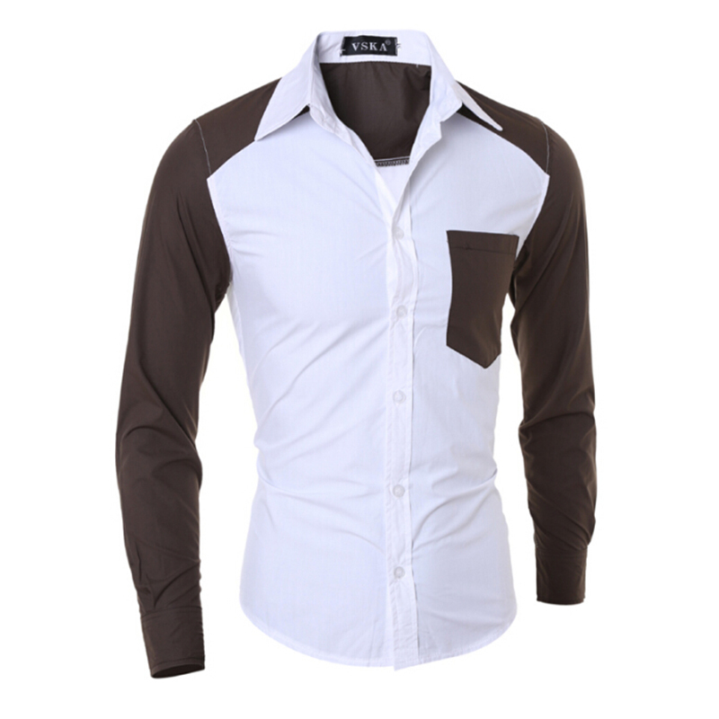 f93dfbe16f0 Get Quotations · New Spring Men Dress Shirts Long Sleeve Hot Male Casual  Slim Fit Clothing Turn Down Collar