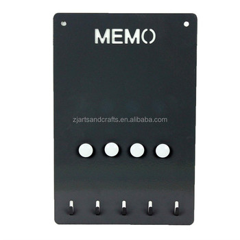 Metal Wall-mounted Memo Board with Key Hooks and Magnets