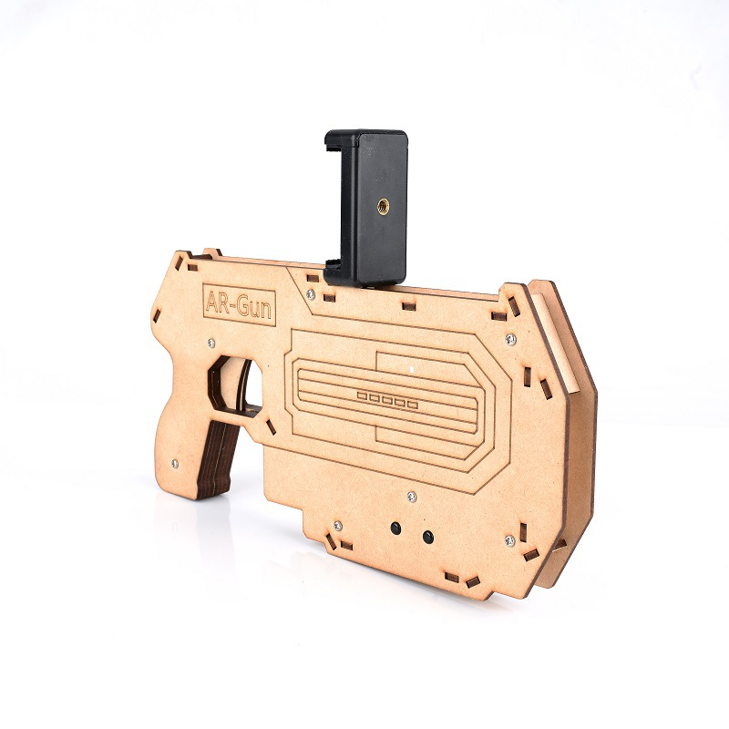 AR Gun Shoot Games Controller for Cell Phone 3D AR Gun Games Wooden Toy Gun