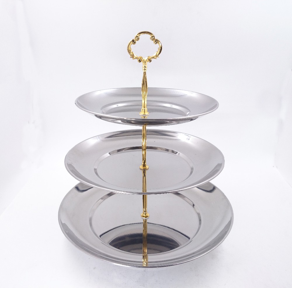 Wholesale Stainless steel 3 layers cake serving stand for high tea