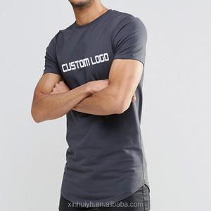 Men'S Black 100% Cotton Custom Logo Screen Printing Muscle Fit Longline T Shirt