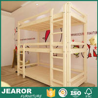 Natural Color Solid Finnish Pine Wood Kids Triple Bunk Bed without Trundle 1603