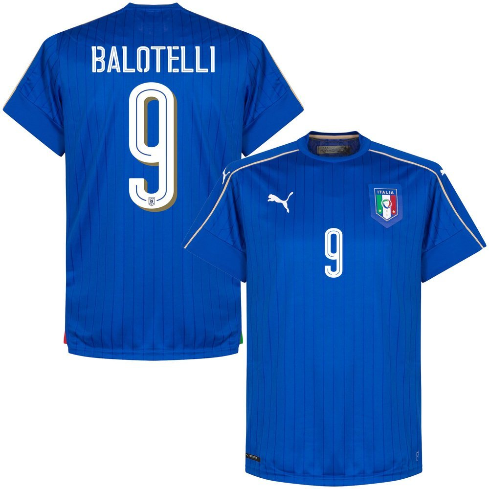 e14c2e9ca Get Quotations · Italy Home Balotelli Jersey 2016   2017 (Official Printing)