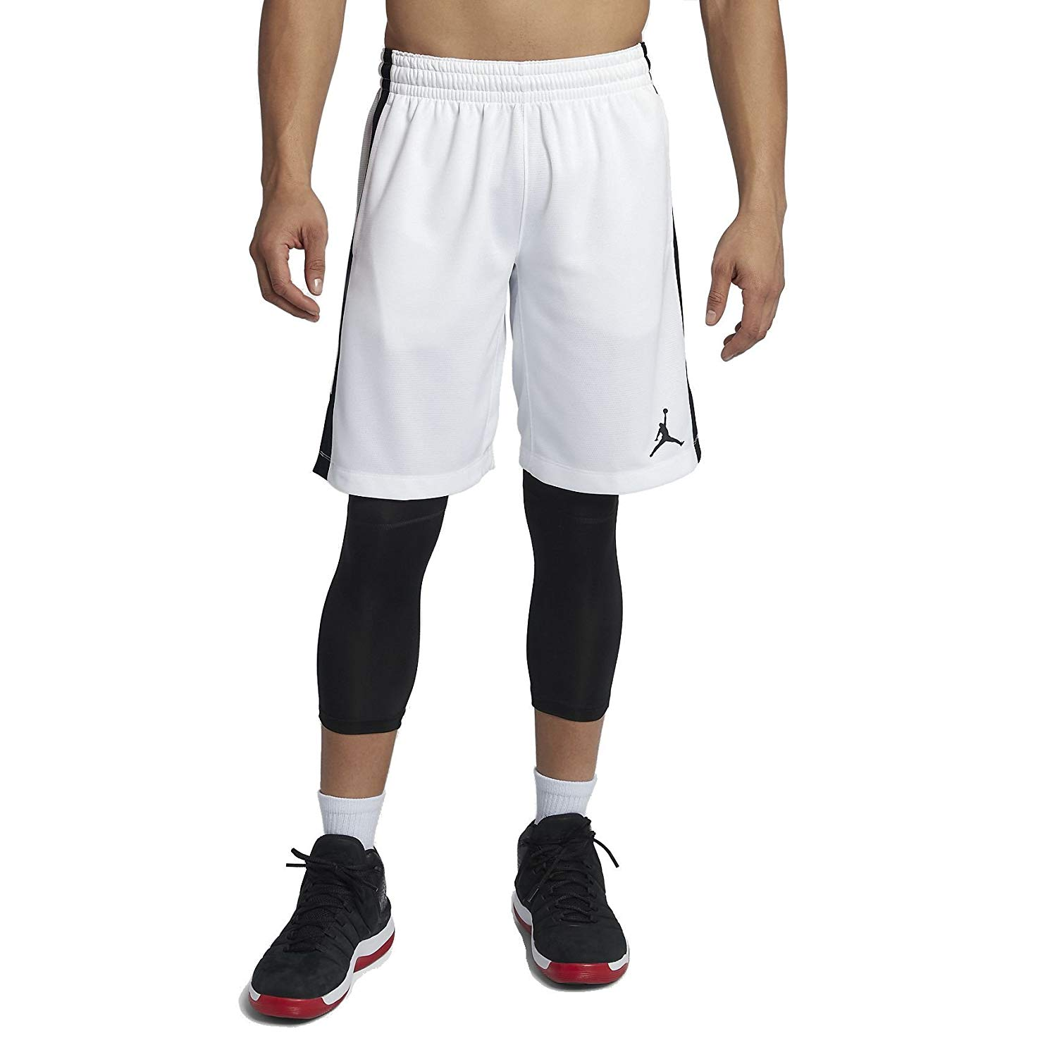 25015bc500d Get Quotations · Jordan Flight Men's Basketball Shorts (White/Black, Small)