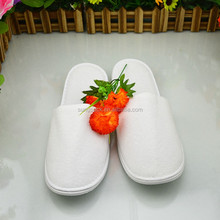 Cheap Guest Rubber Hotel Slippers in White Washable Cotton Disposable Guest Slippers