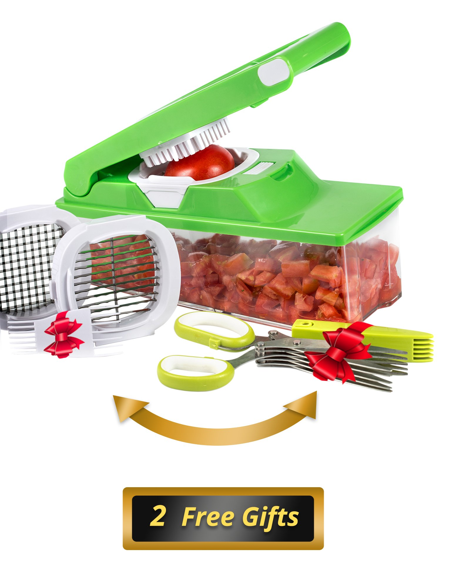 Best Vegetable Chopper Food Dicer by The Simple Kitchen - Tearless Vidalia Onion Chopper Will Chop, Dice and Julienne Vegetables & Fruit Quicker Than Eve - 1.5L - Cleaning Brush + BONUS Herb Scissors