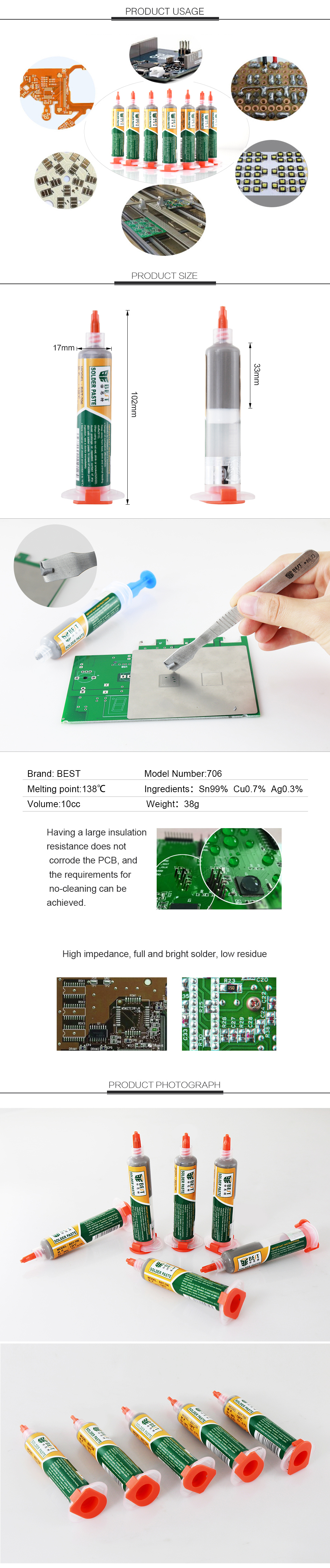 BEST 706 Factory Direct Sales Excellent Quality Cheap Price Tin Lead-free Soldering Paste