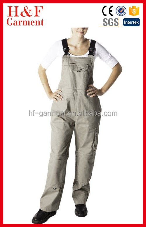 Soft durable breathable Workwear Womens Overalls Tan With Durable elastic straps