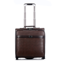 2015 high quality PU fake leather business travle trolley luggage