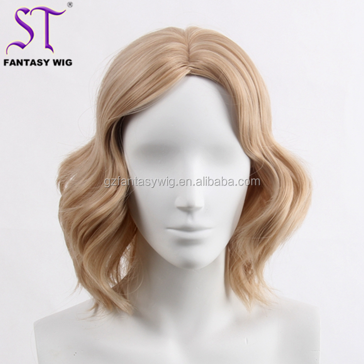 13inch Short Blonde Wave Costume Color Professional Synthetic Hair Cheap Wigs And Weaves For Sewing Mannequin