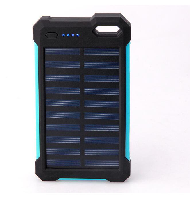 OEM Solar portable charging 10000mAh waterproof power bank With LED Lamp Silicone Edge power bank solar charger