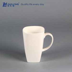 600ml large capacity square shape plain white bone china mugs / ceramic custom printing coffee tea mug
