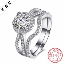 personalized fashion double layered white gold plated 925 silver big stone zircon wedding ring for women