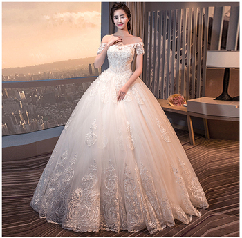 Chinese Appliqued Off-shoulder Vintage Lace Appliqued Ball Gown ...