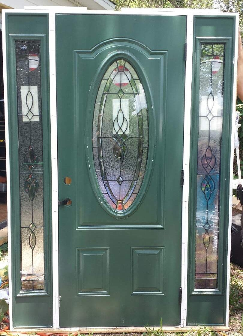 Doors Design: Leaded Glass Front Exterior Entry Door With Sidelites