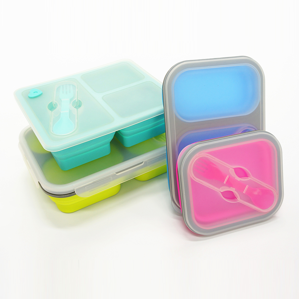 BPA free 3 compartment eco school silicone lunch box with plastic lid