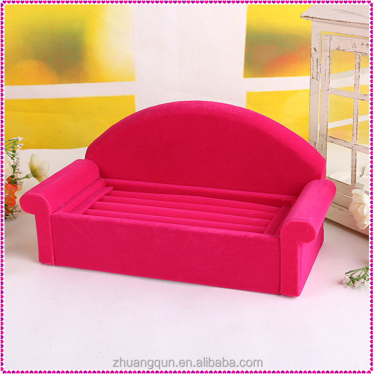Velvet jewelry finger ring display tray, Velvet ring holder with sofa shape