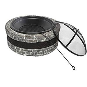 "35"" Cast Stone Fire Pit, Home Furniture, Patio Garden Furniture, Fire Bowl, Outdoor Centerpiece, Durable Cast Stone Base, Wire Mesh Screen Protection, Outdoor Garden, BONUS e-book (Charcoal Gray)"