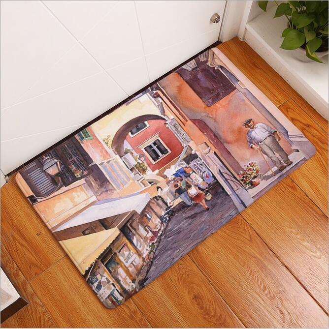New Seaside Town Printed Mat Anti Slip Decor Doormat Foot Pad
