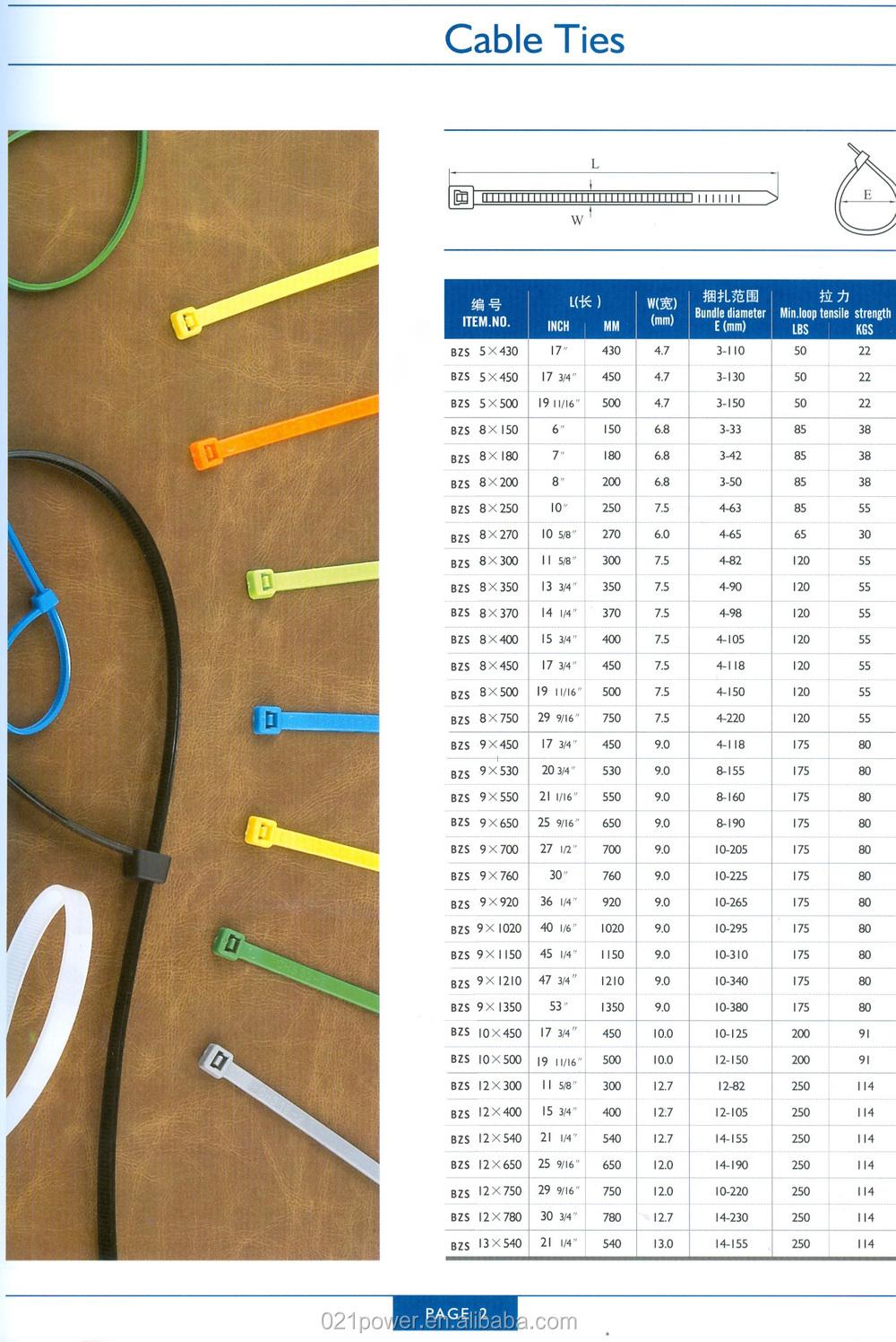 Self Locking Type Nylon Cable Tie Wire,Plastic Tie Lock Wraps Sizes ...