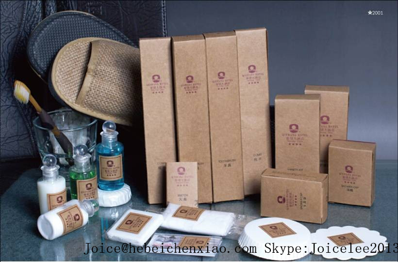 hotel amenities kit/ Simple hotel amenities with paper box