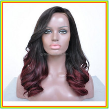 DLN red curly lace front wig masterpiece 100% human hair wigs for black women