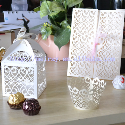 Personnalisé Mariage Coffrets Cadeaux à Vendre Laser Coupe Filigrane Boîte De Cadeaux De Mariagecartes Dinvitation De Mariagegâteau Emballage