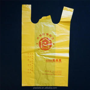 Supermarket Customised Print Biodegradable Vest Handle T- Shirt Carry HDPE Plastic Bags