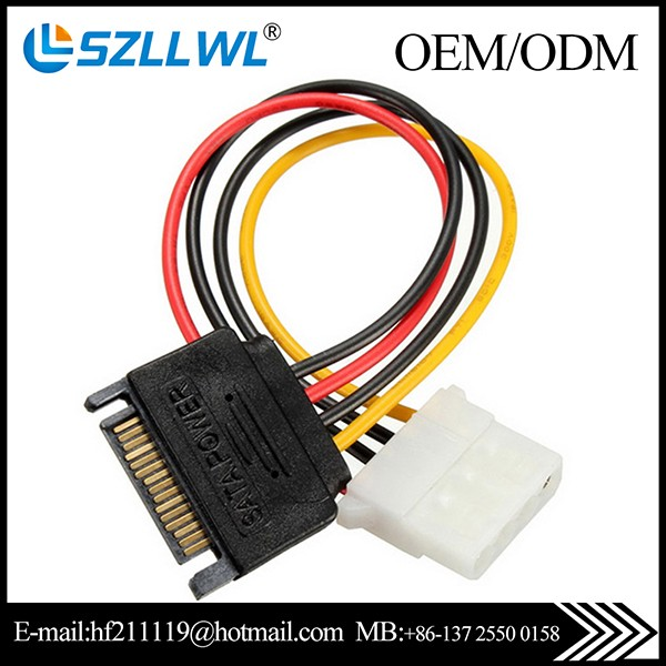 Ide/molex 4-pin To 2x Sata 15-pin Power Cable Wires Harness - Buy ...