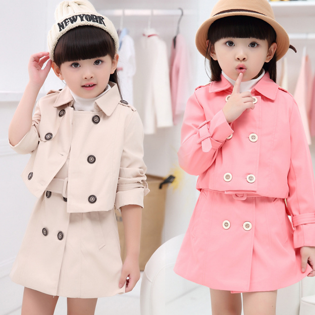 Children's clothing autumn 16 new models in Europe and America double-breasted coat children coat girls skirt suit two sets