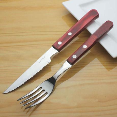rosewood handle steak knife and fork set of 2 exporting supplies sharp steak knife and fork on. Black Bedroom Furniture Sets. Home Design Ideas