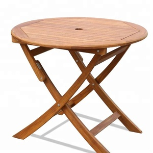 Newn outdoor garden furniture hotel restaurant patio teak wooden folding round table with umbrella hole (D586)