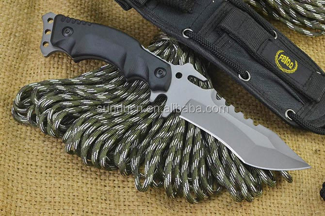 Stainless Steel Blade Non-slip G10 Handle Titanium Finish Military Knife Fixed Blade Knife with Nylon Sheath