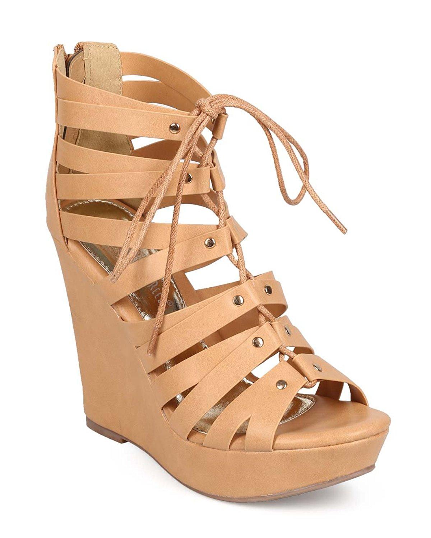 101aab718e88 Get Quotations · Women Leatherette Peep Toe Lace Up Gladiator Wedge Sandal  EC98 - Beige
