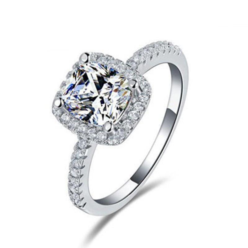 Simple Elegant Engagement Rings 925 Silver Finger Ring ...