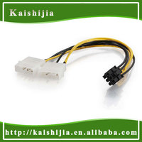 Shenzhen Factory Supply Dual Molex to 6 Pin PCI-E Power Graphics Card Adapter Cable