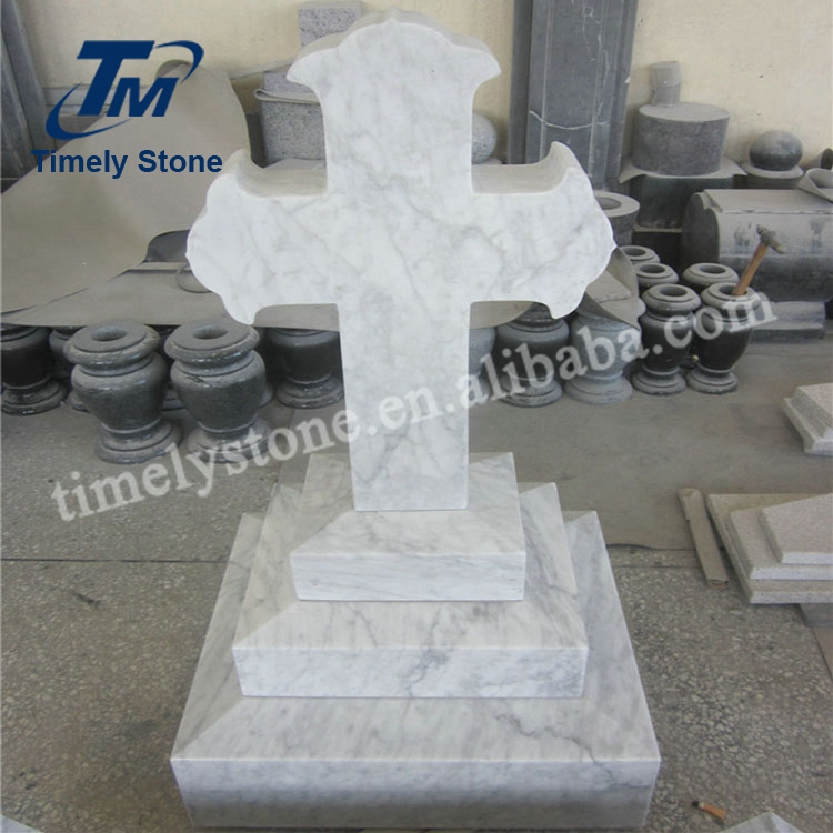 Antique White Marble Granite Cross Tombstone Headstone